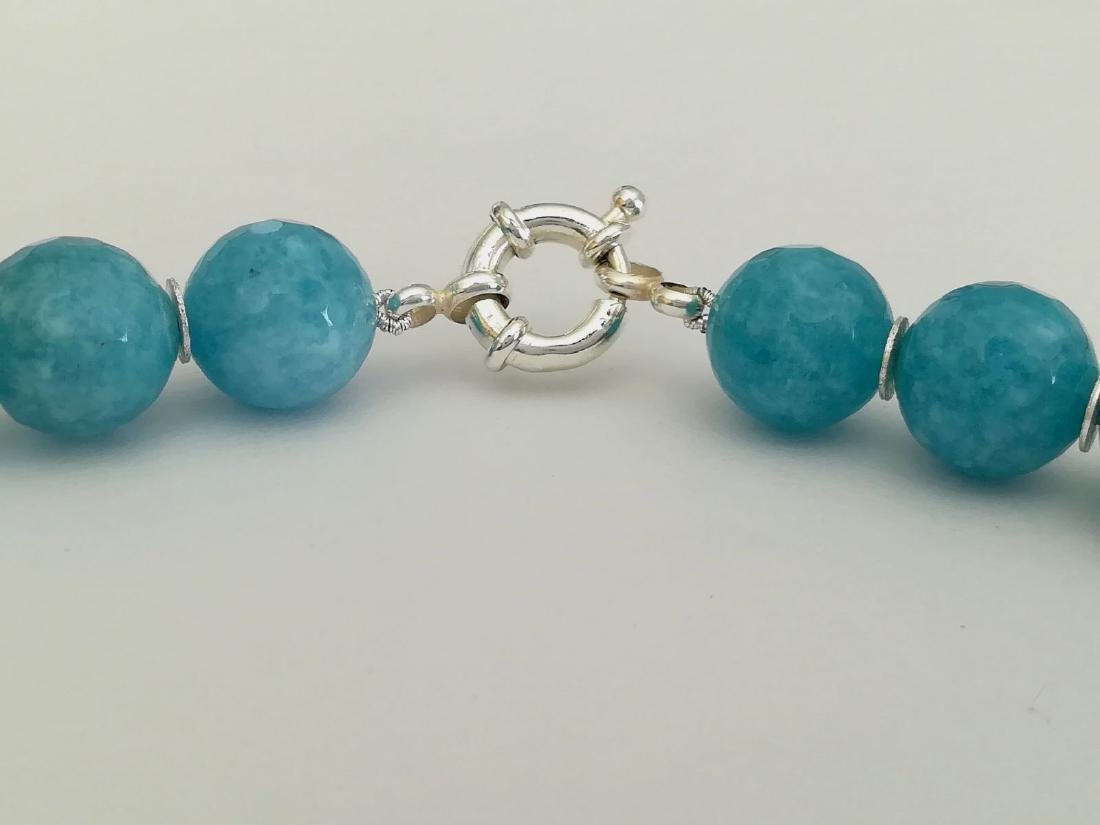 14mm Aquamarine Stone Necklace and 14mm Ruby Stone with - 5