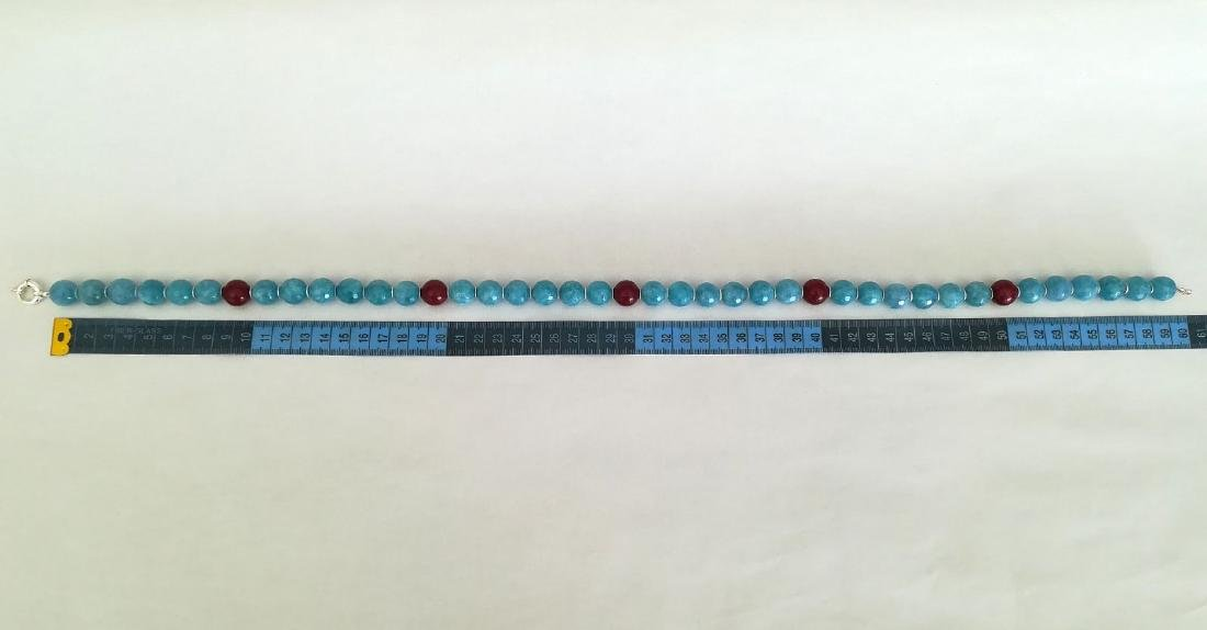 14mm Aquamarine Stone Necklace and 14mm Ruby Stone with - 6