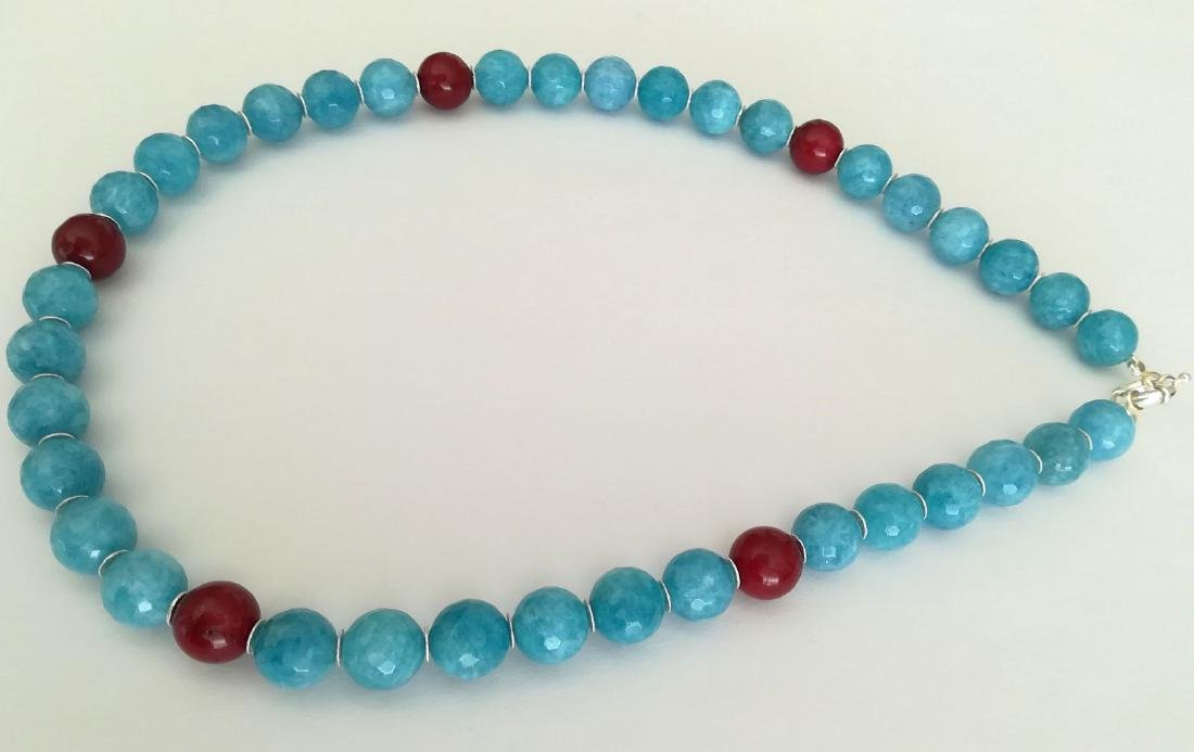 14mm Aquamarine Stone Necklace and 14mm Ruby Stone with - 7