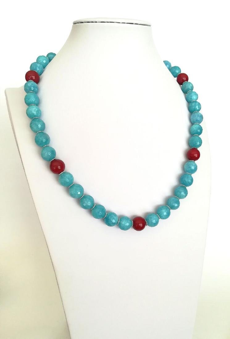 14mm Aquamarine Stone Necklace and 14mm Ruby Stone with - 8