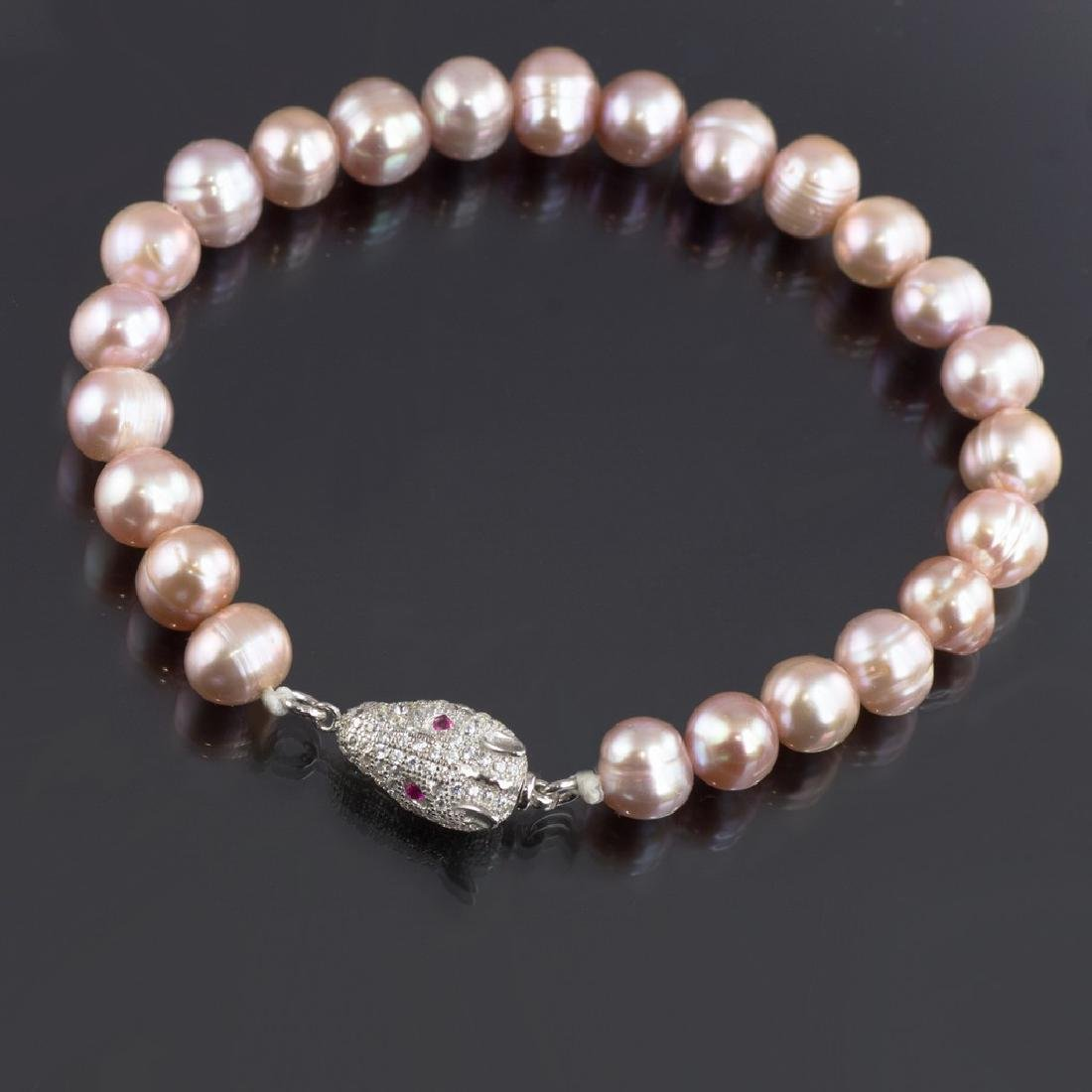 Pearl Bracelet with Silver Fancy Pave Panther Clasp - 2