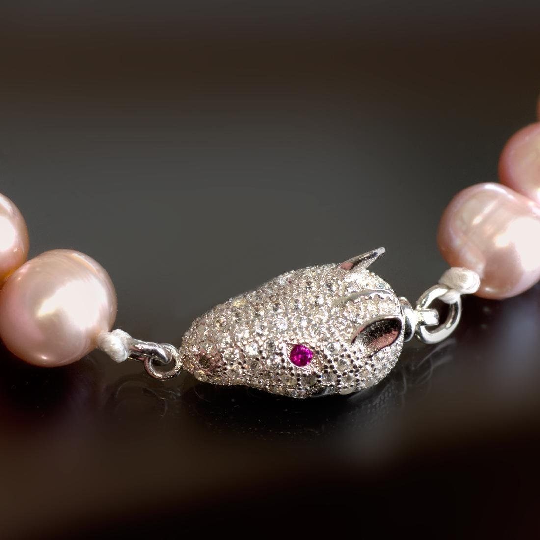 Pearl Bracelet with Silver Fancy Pave Panther Clasp - 4