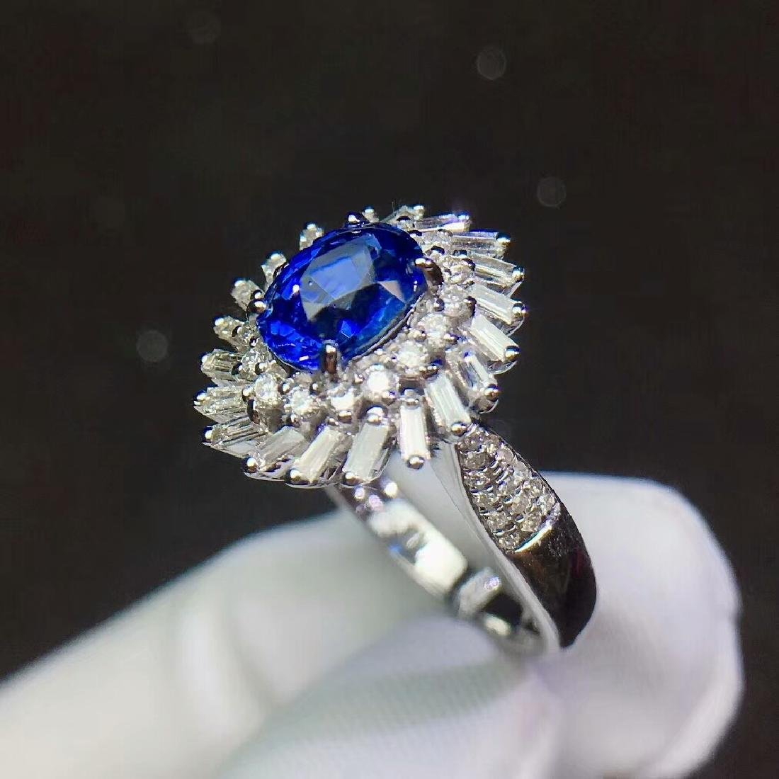1.3ct Sapphire Ring in 18kt White Gold - 6