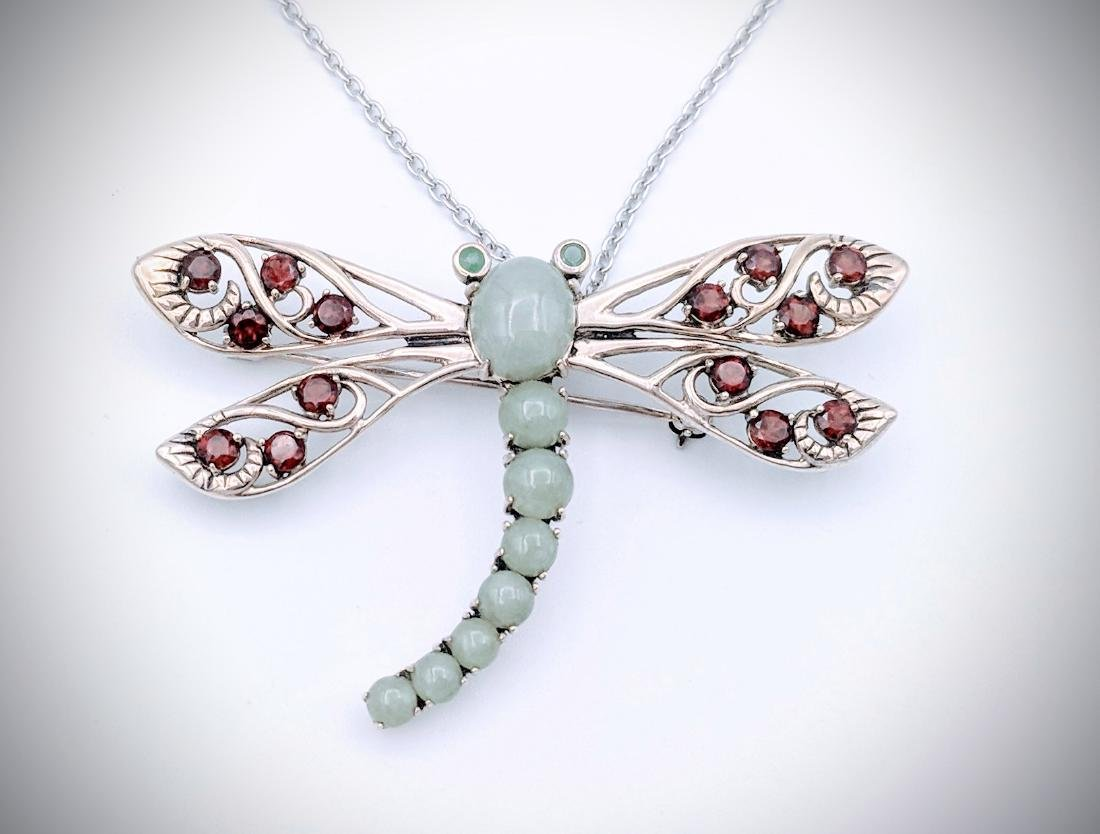 Sterling Silver Dragonfly Pendant, or Brooch with Jade,