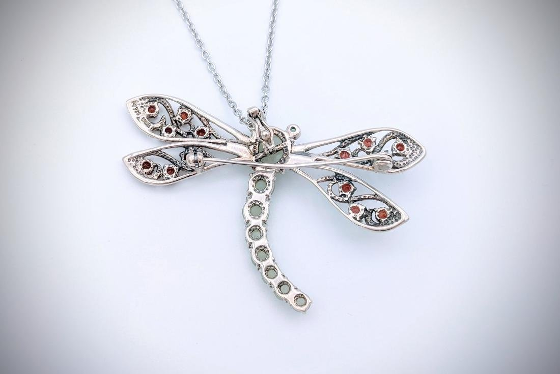 Sterling Silver Dragonfly Pendant, or Brooch with Jade, - 2
