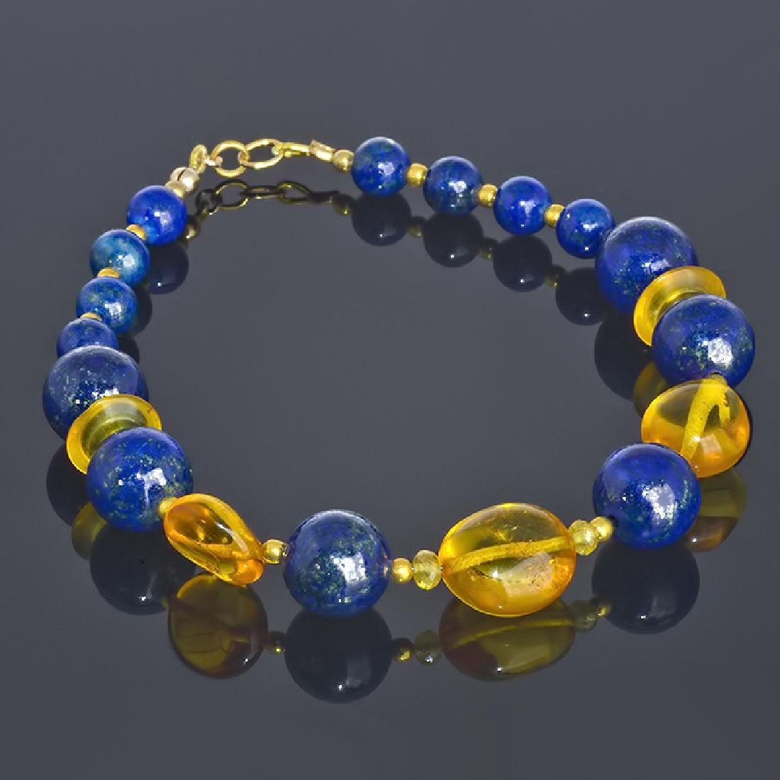 Lapis lazuli and Amber bracelet with Sapphires
