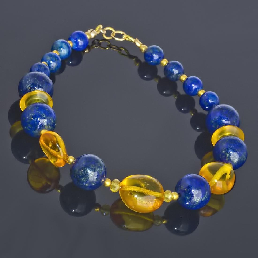 Lapis lazuli and Amber bracelet with Sapphires - 2