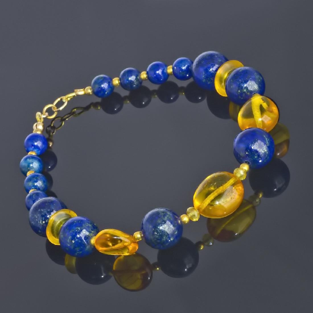 Lapis lazuli and Amber bracelet with Sapphires - 3
