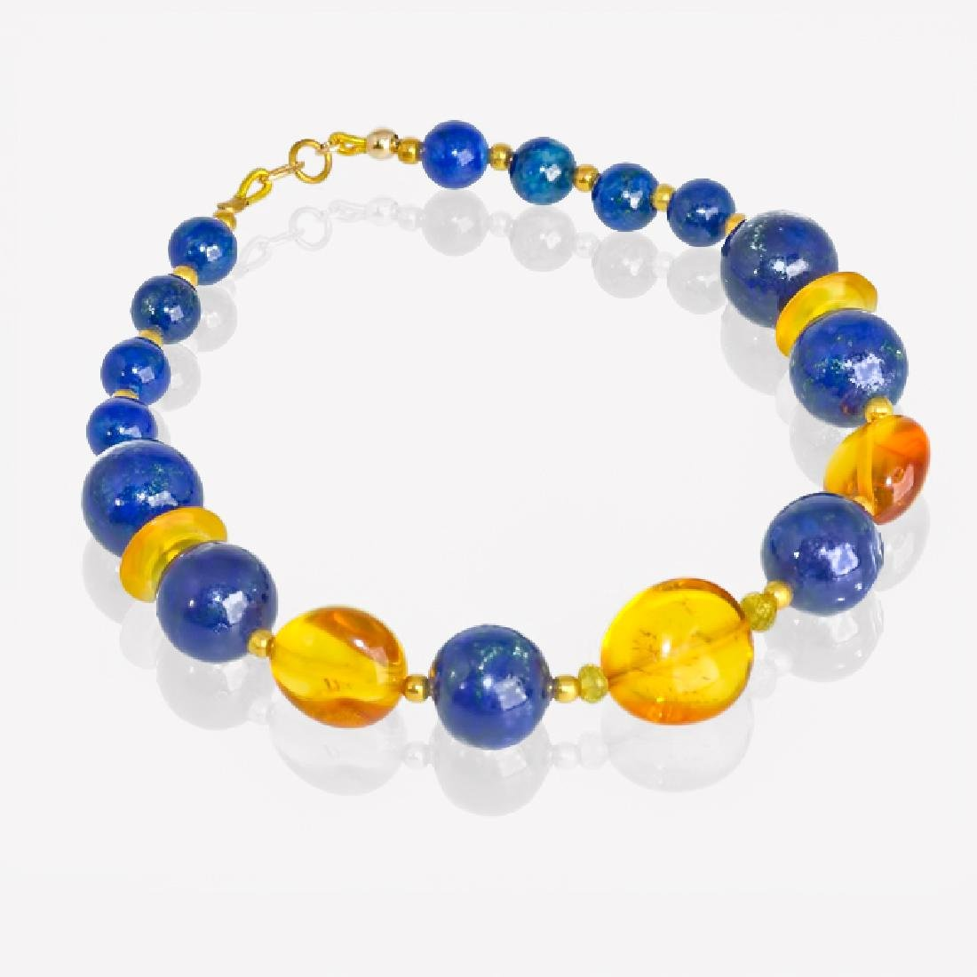 Lapis lazuli and Amber bracelet with Sapphires - 4