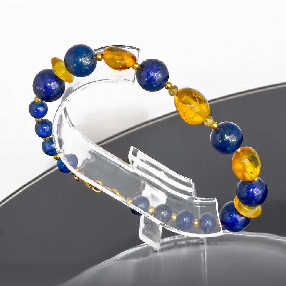 Lapis lazuli and Amber bracelet with Sapphires - 5