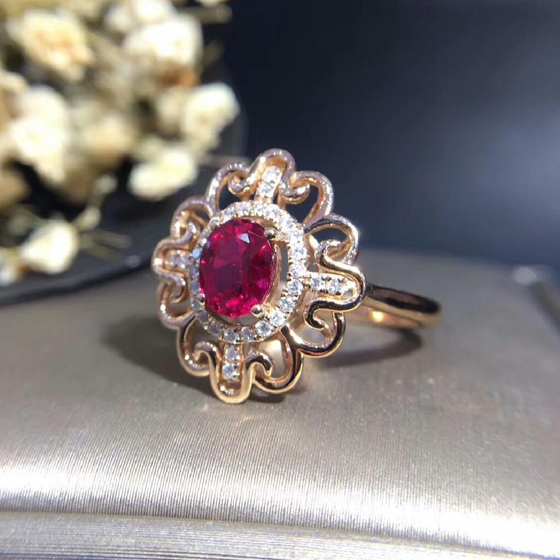 0.95ct Ruby Ring in 18kt white Gold - 2