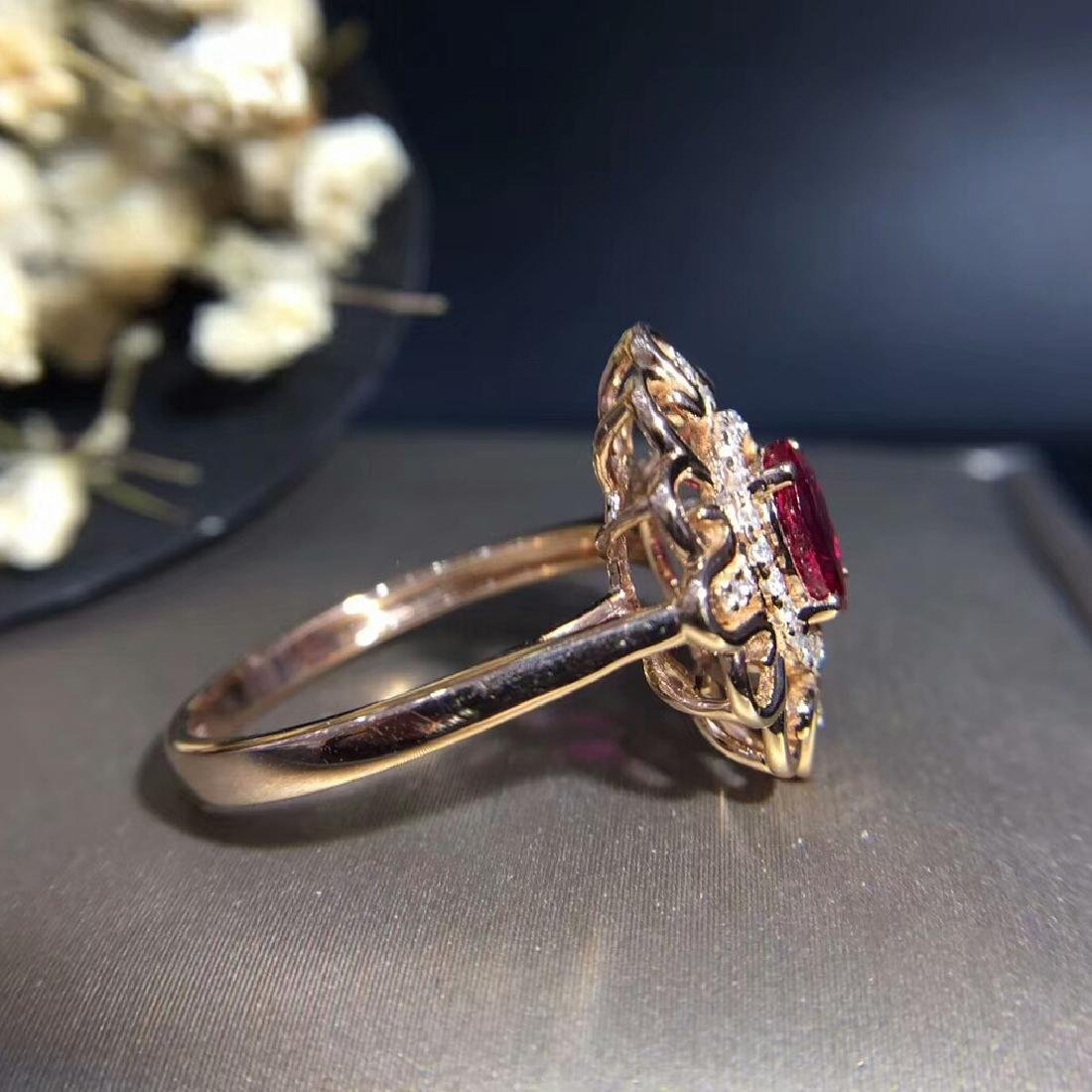 0.95ct Ruby Ring in 18kt white Gold - 3