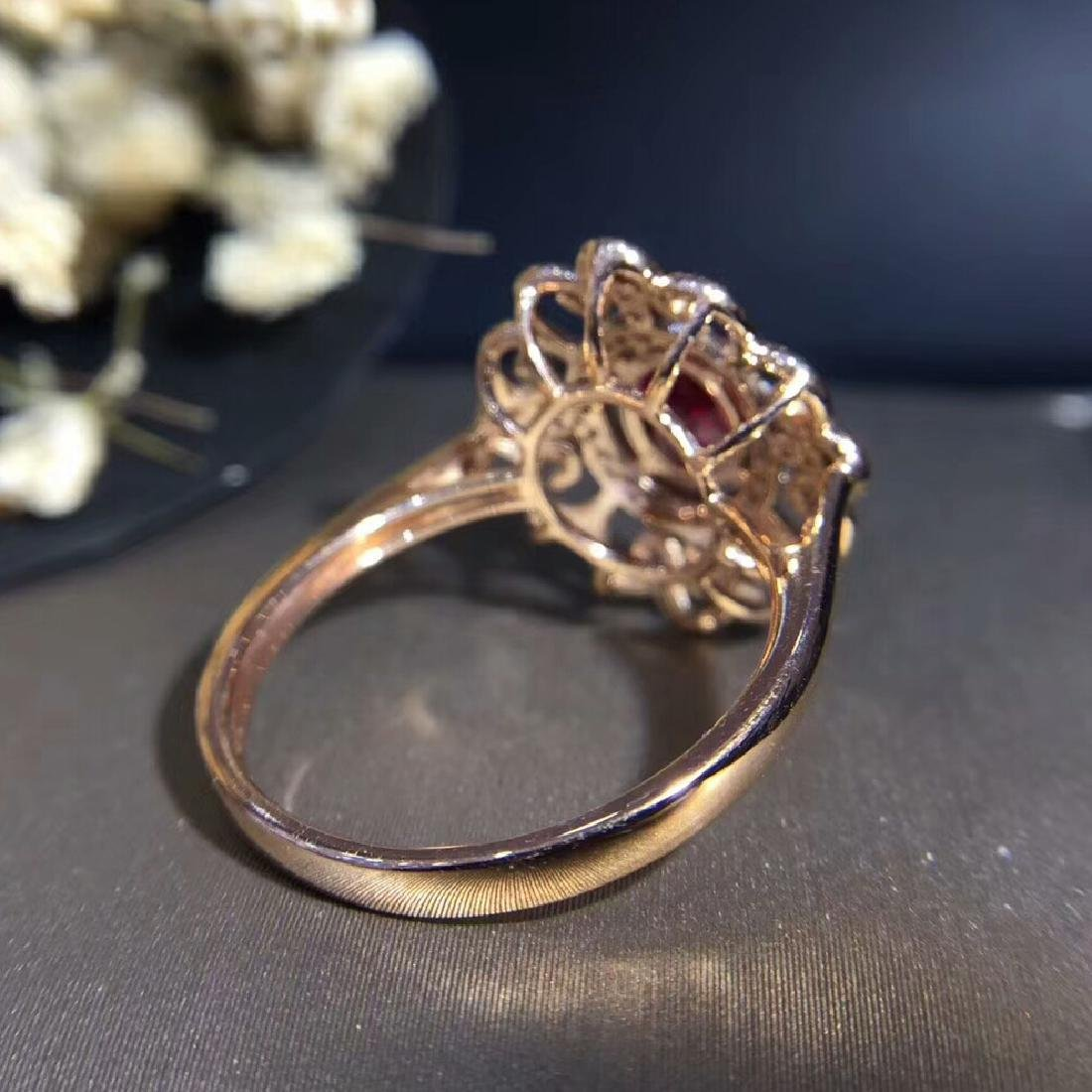 0.95ct Ruby Ring in 18kt white Gold - 4