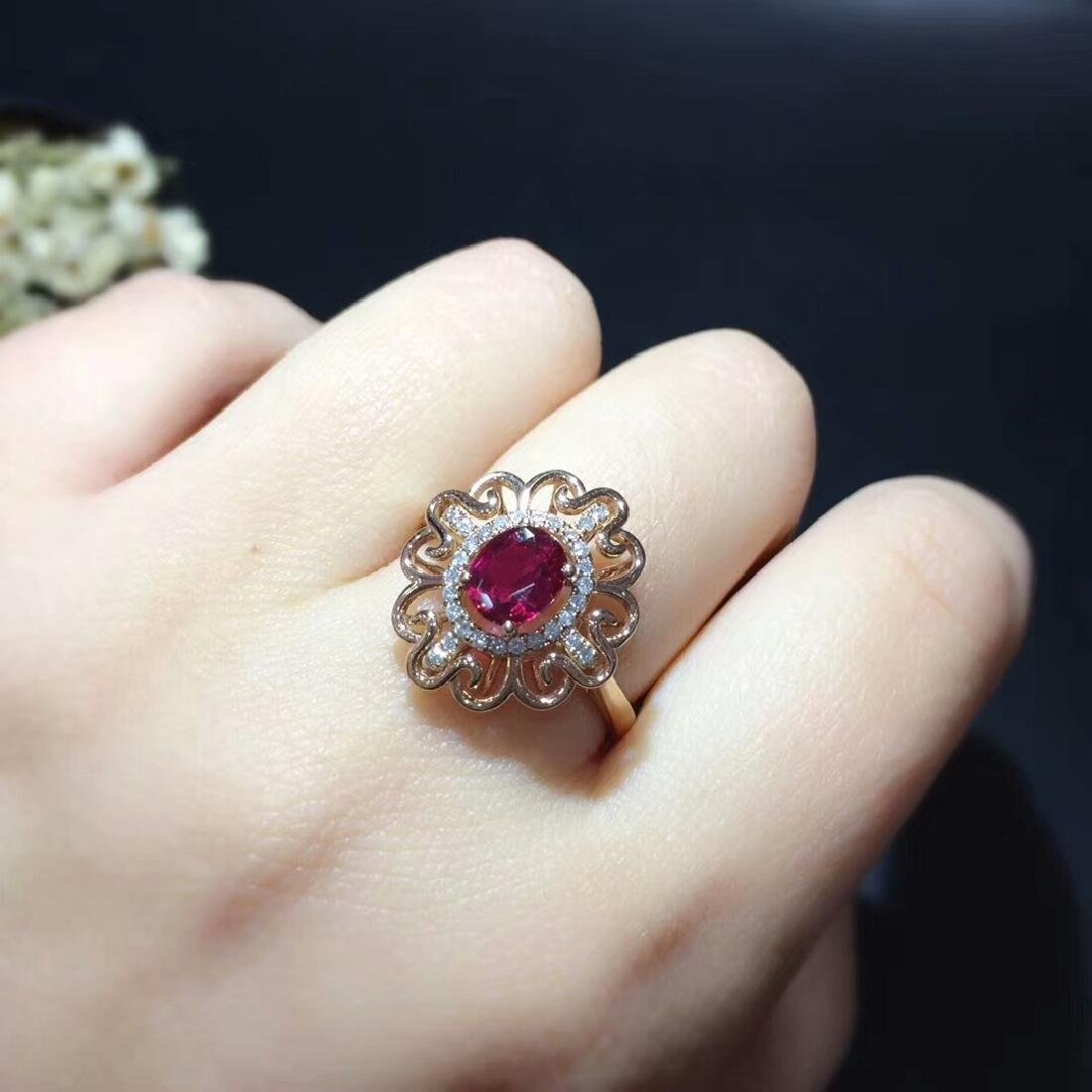 0.95ct Ruby Ring in 18kt white Gold - 5