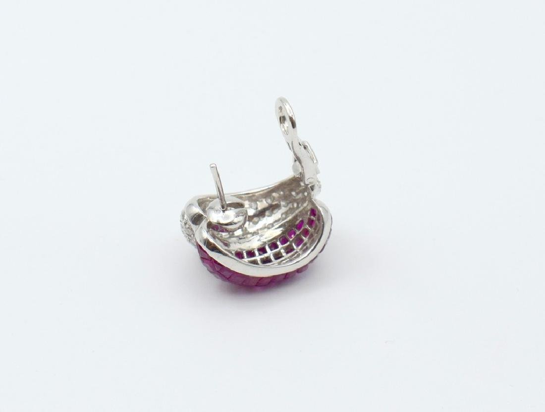 18 carat white gold a pair of Earring with diamond and - 5