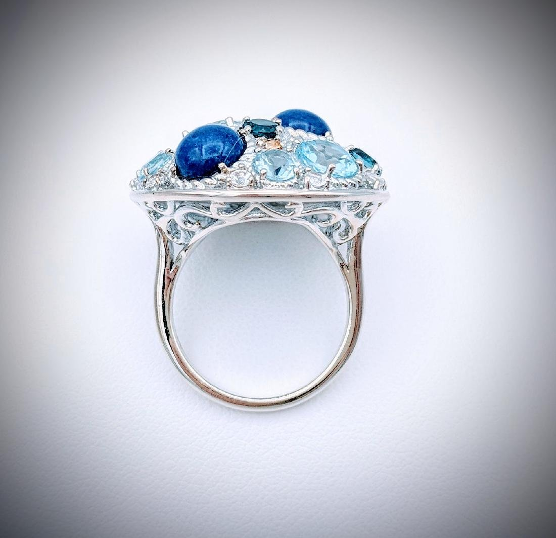 Sterling Silver Ring with Blue Topaz, Lapis Lazuli, - 3
