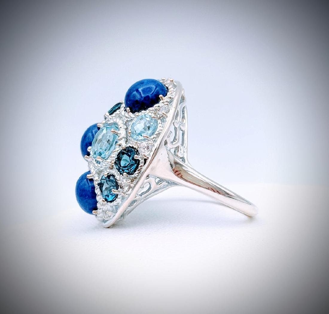Sterling Silver Ring with Blue Topaz, Lapis Lazuli, - 4