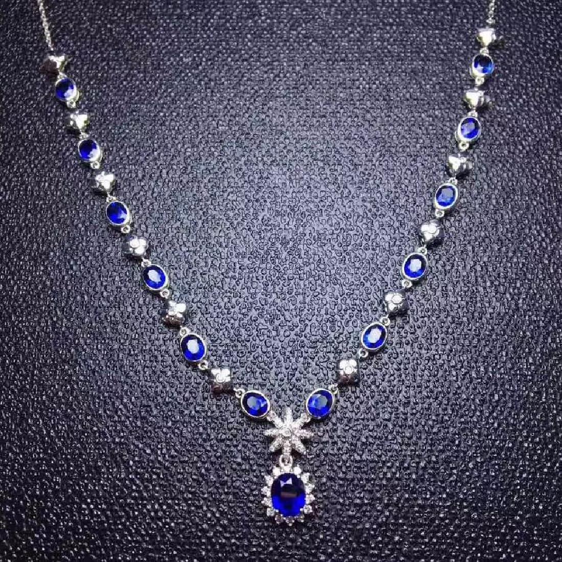 6.02 CTW Sapphire & VS Diamond Necklace 18K