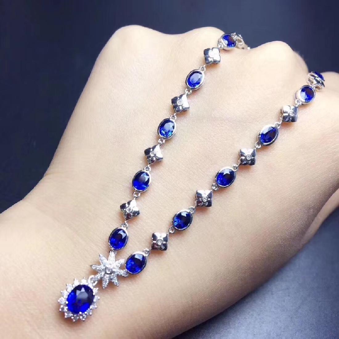 6.02 CTW Sapphire & VS Diamond Necklace 18K - 4