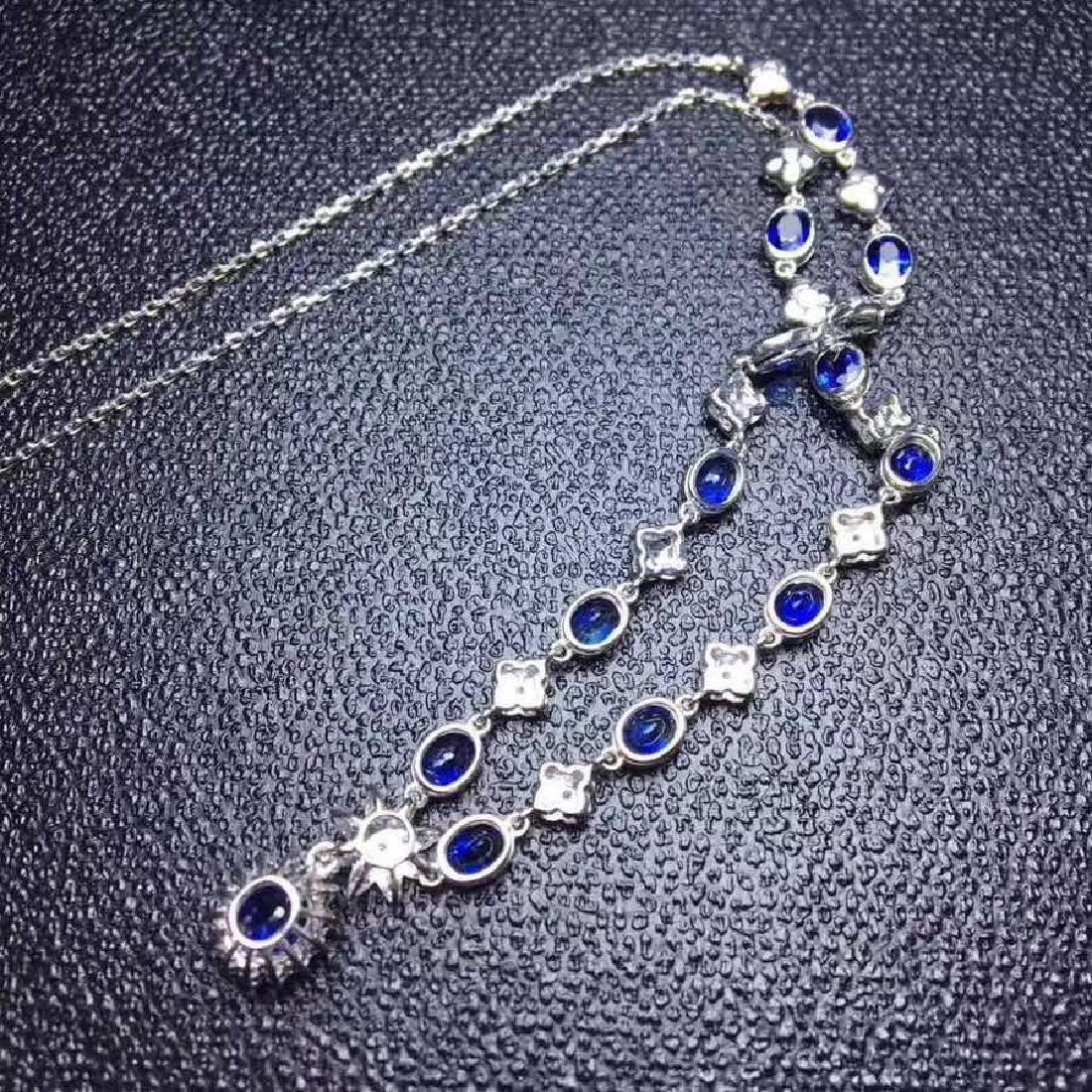 6.02 CTW Sapphire & VS Diamond Necklace 18K - 5