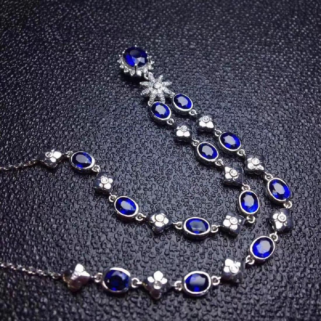 6.02 CTW Sapphire & VS Diamond Necklace 18K - 6