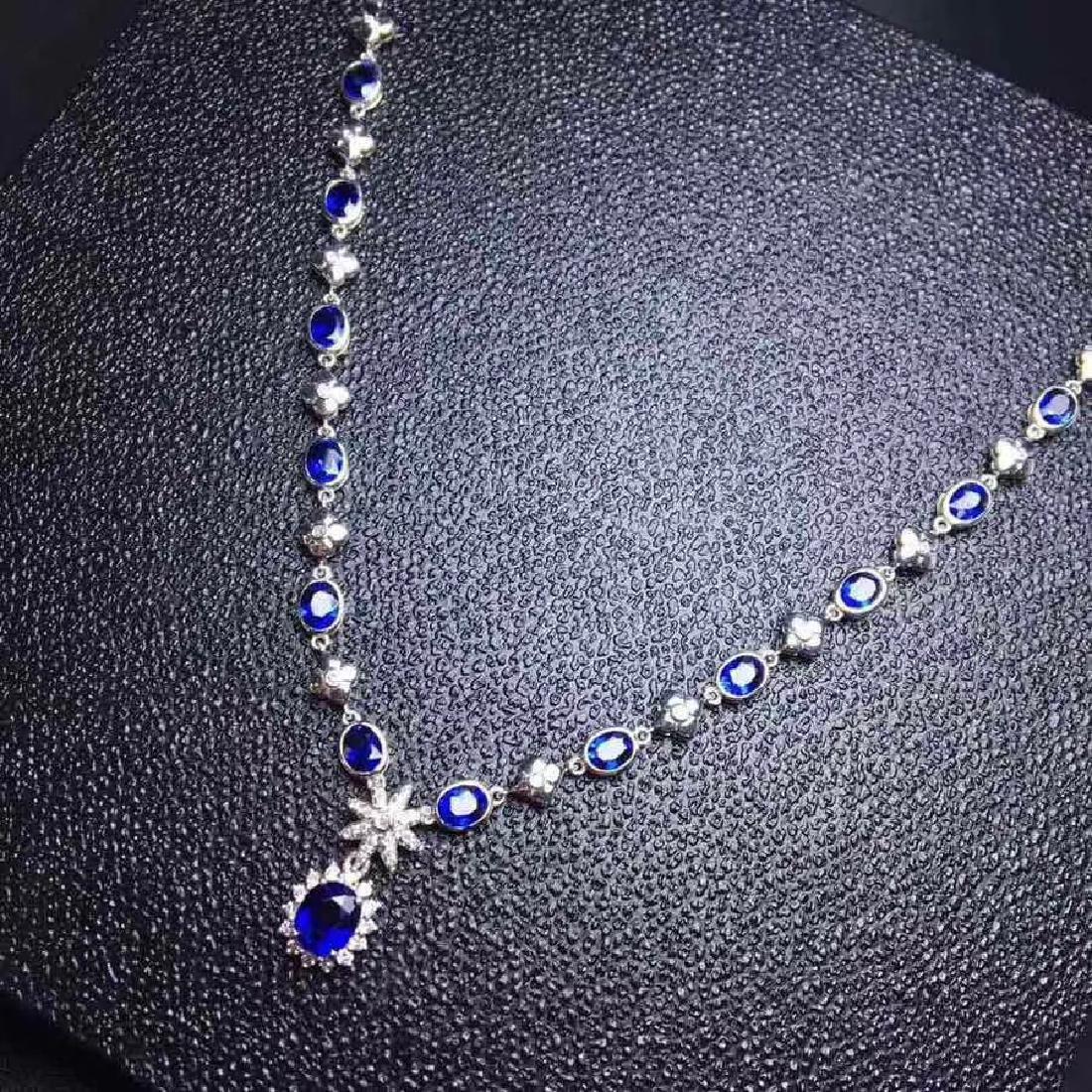 6.02 CTW Sapphire & VS Diamond Necklace 18K - 8