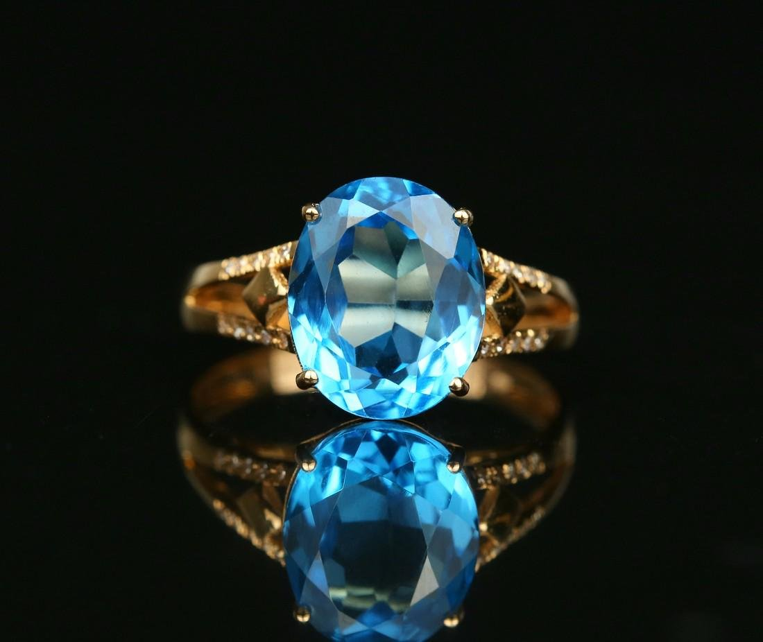 18KT rose gold ring with blue topaz 6.0ct. - 2