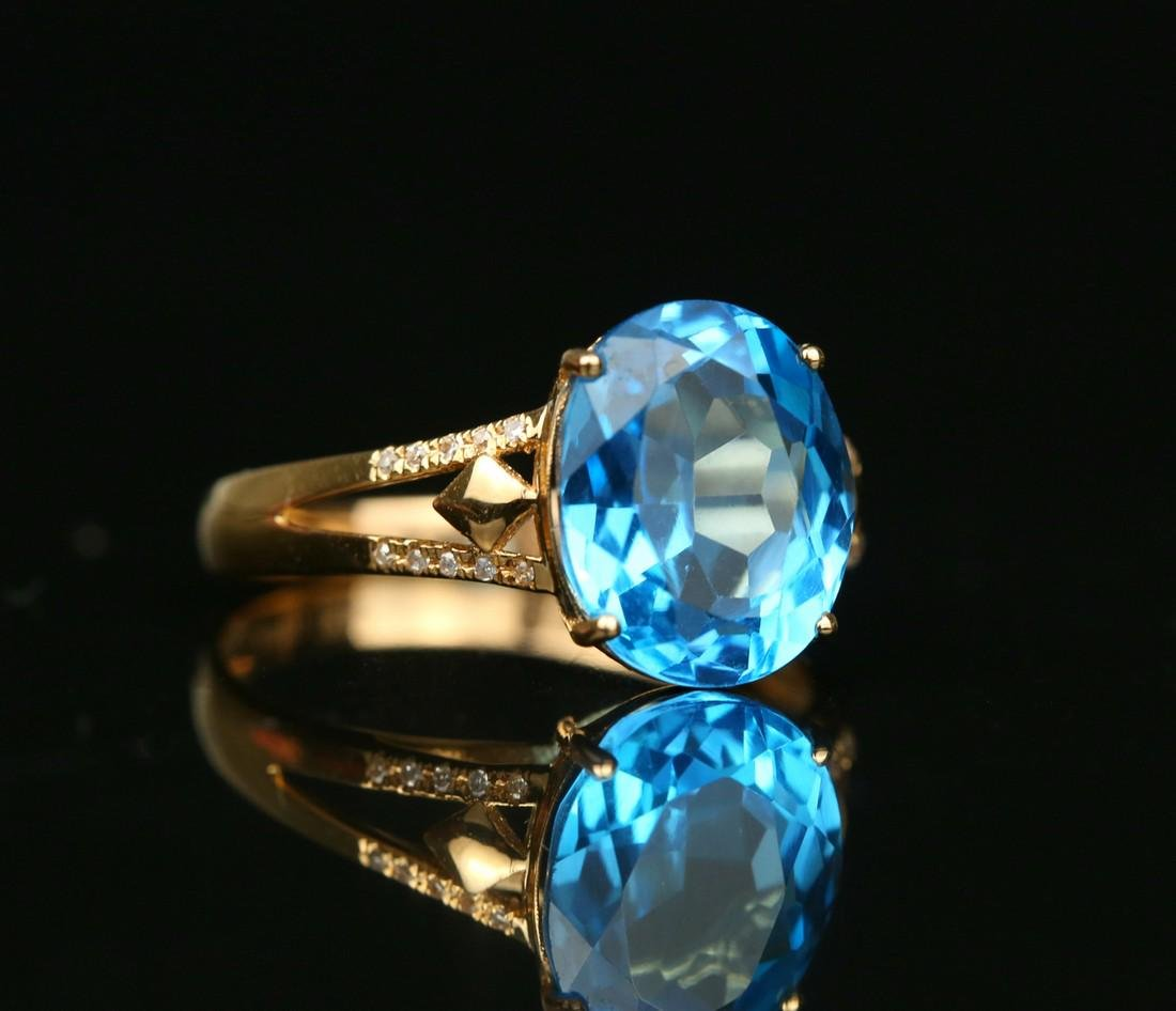 18KT rose gold ring with blue topaz 6.0ct. - 3
