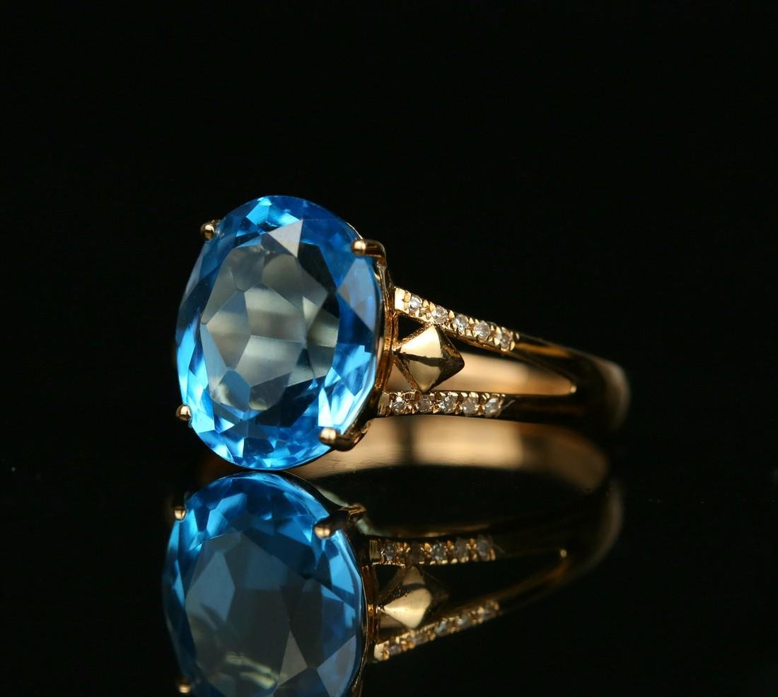 18KT rose gold ring with blue topaz 6.0ct. - 4