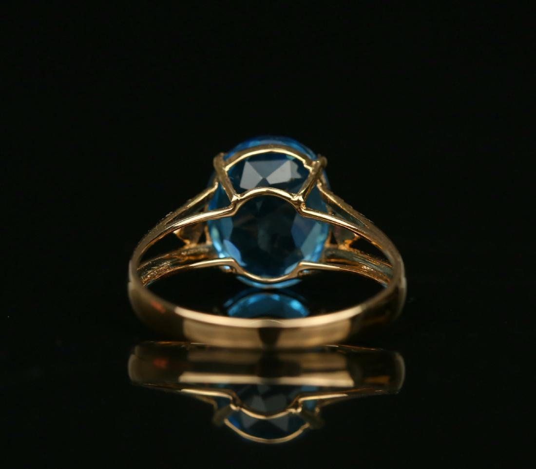 18KT rose gold ring with blue topaz 6.0ct. - 6
