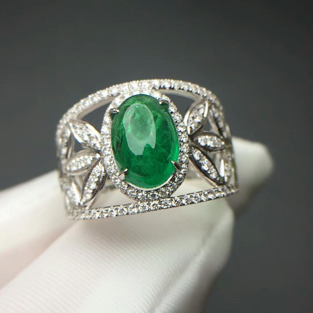 2.015 CTW Emerald & VS Diamond Ring 18K
