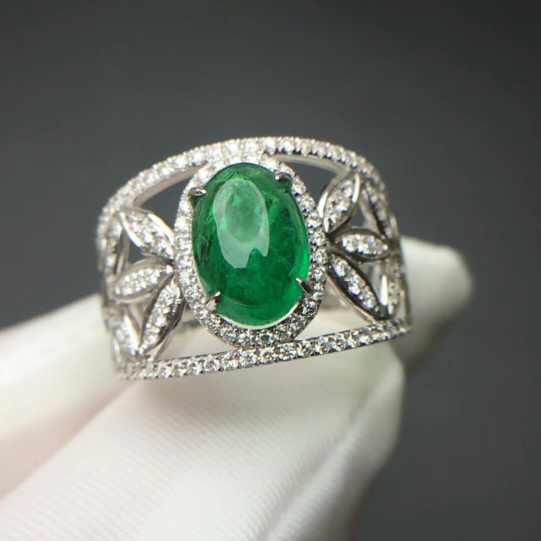 2.015 CTW Emerald & VS Diamond Ring 18K