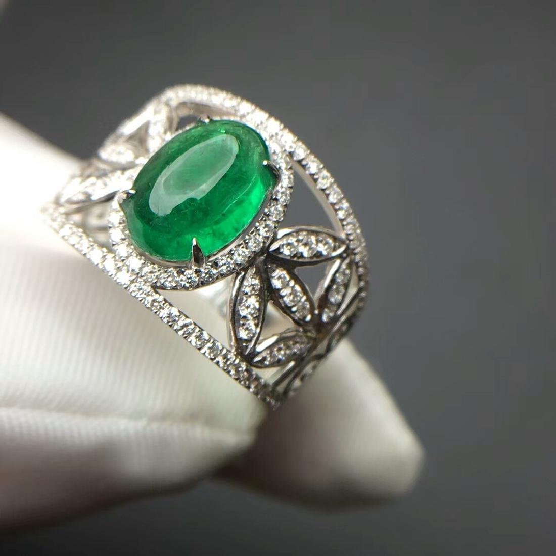 2.015 CTW Emerald & VS Diamond Ring 18K - 2