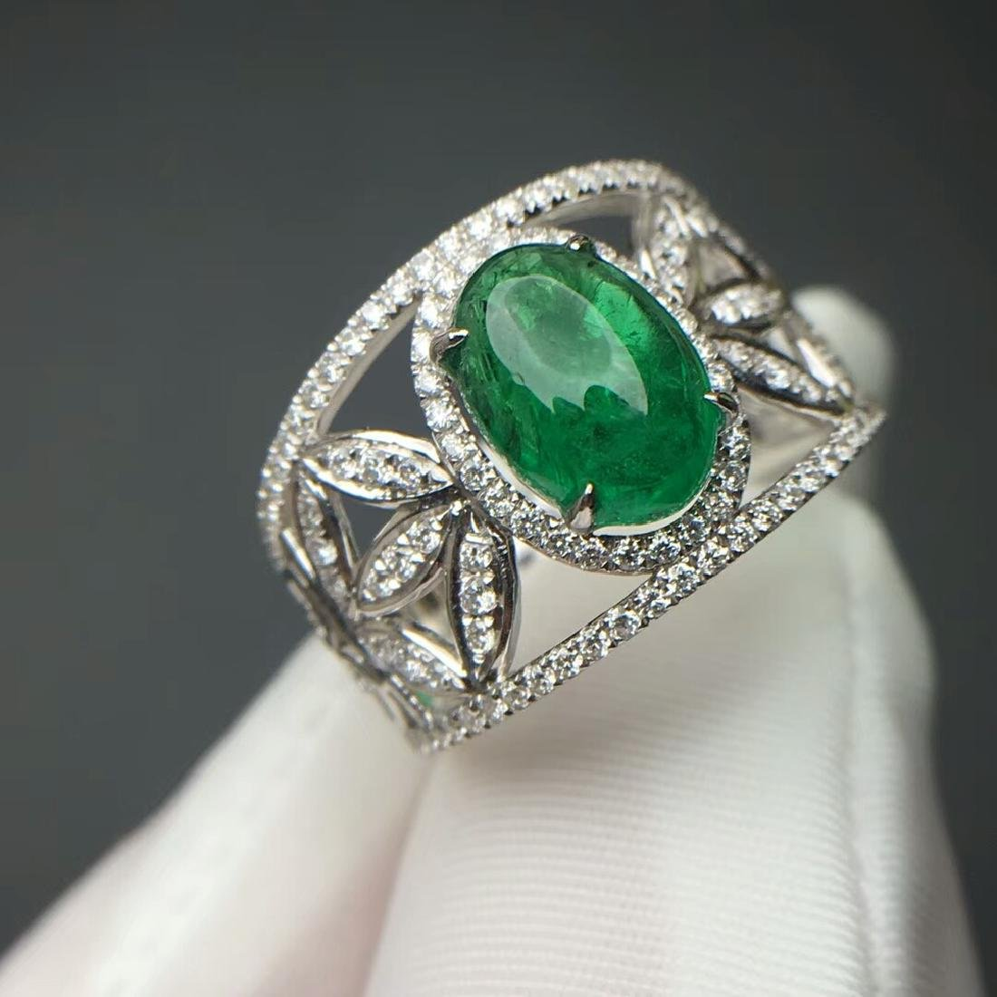 2.015 CTW Emerald & VS Diamond Ring 18K - 3