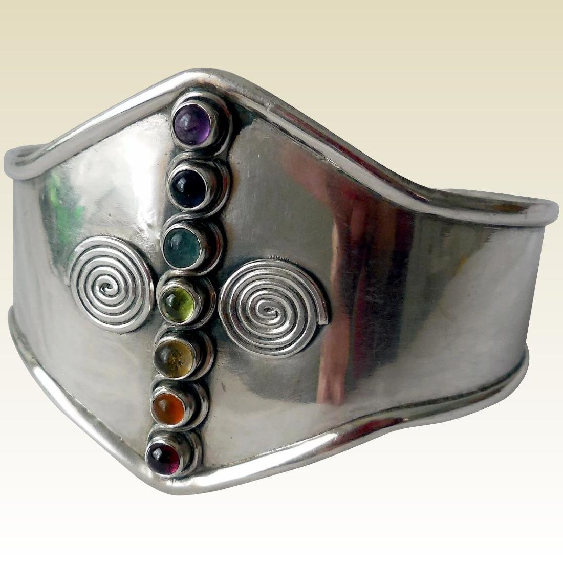 Sterling Silver Cuff Bracelet, Gemstones