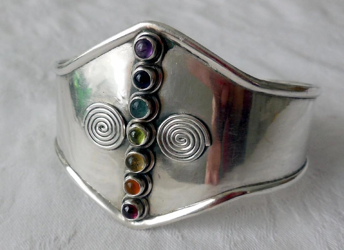 Sterling Silver Cuff Bracelet, Gemstones - 2