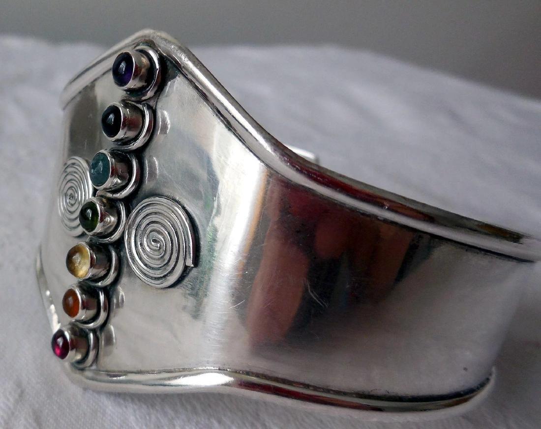 Sterling Silver Cuff Bracelet, Gemstones - 4