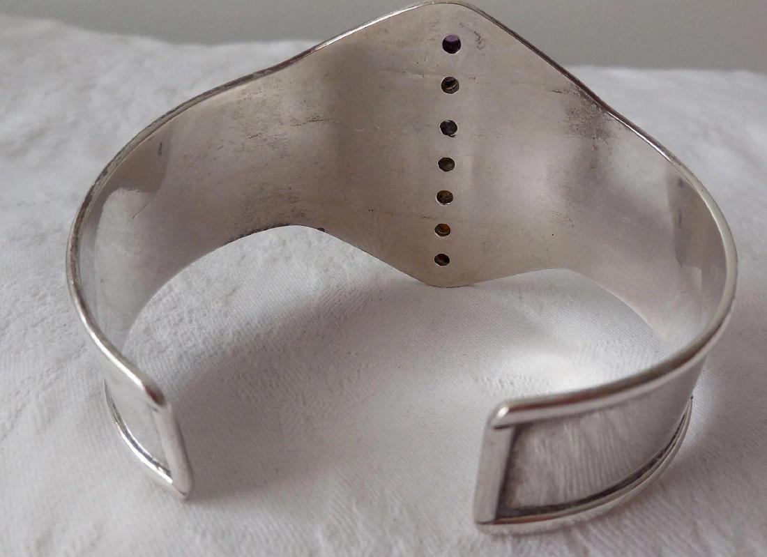 Sterling Silver Cuff Bracelet, Gemstones - 5