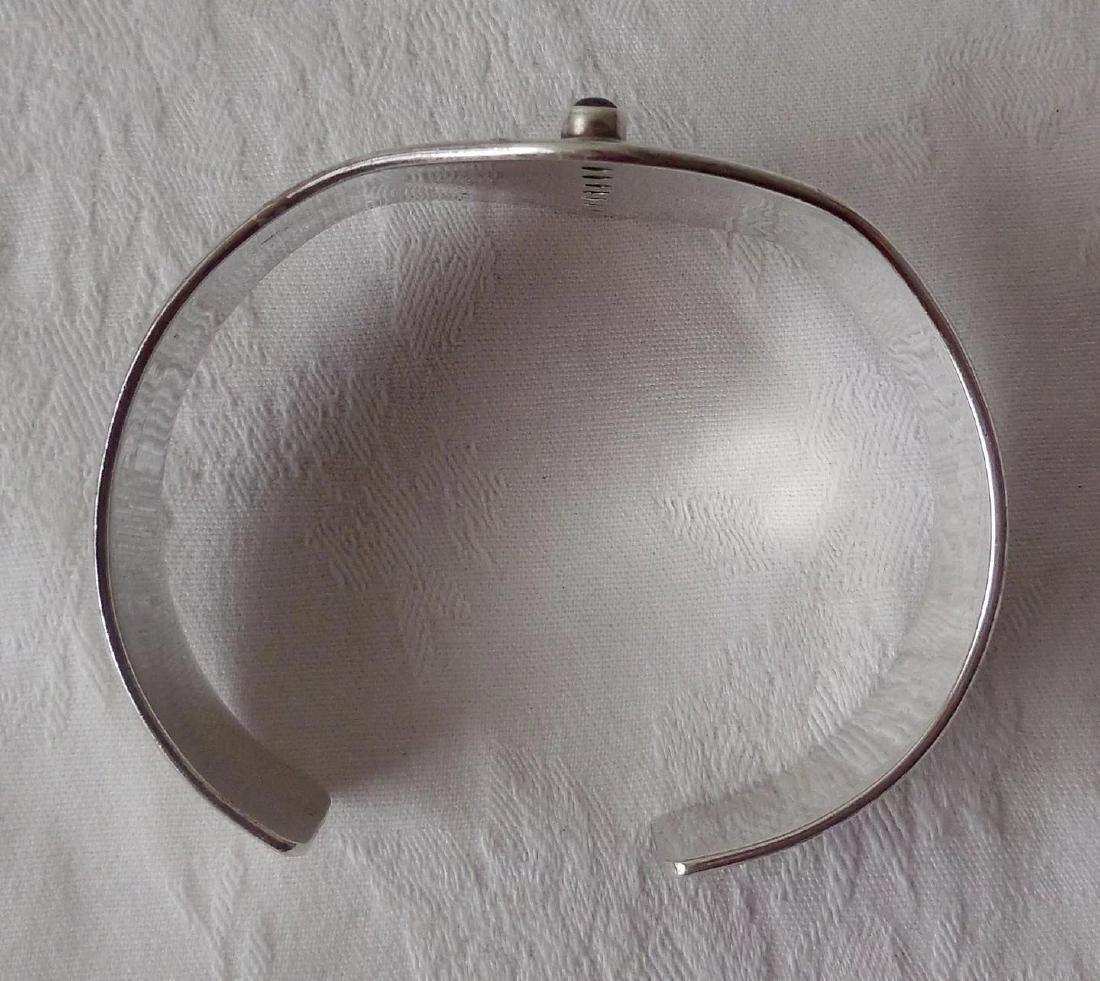Sterling Silver Cuff Bracelet, Gemstones - 6