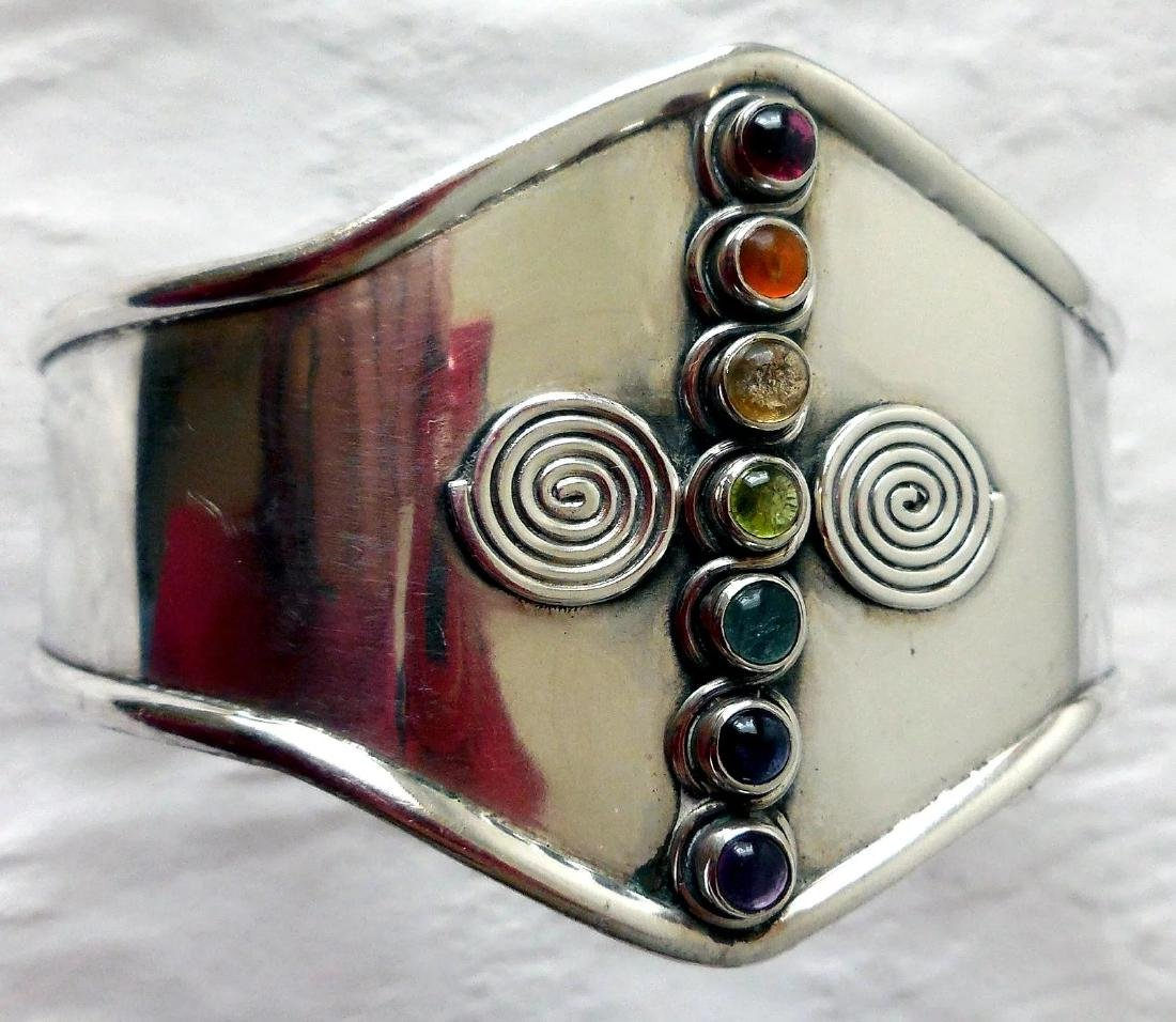 Sterling Silver Cuff Bracelet, Gemstones - 8