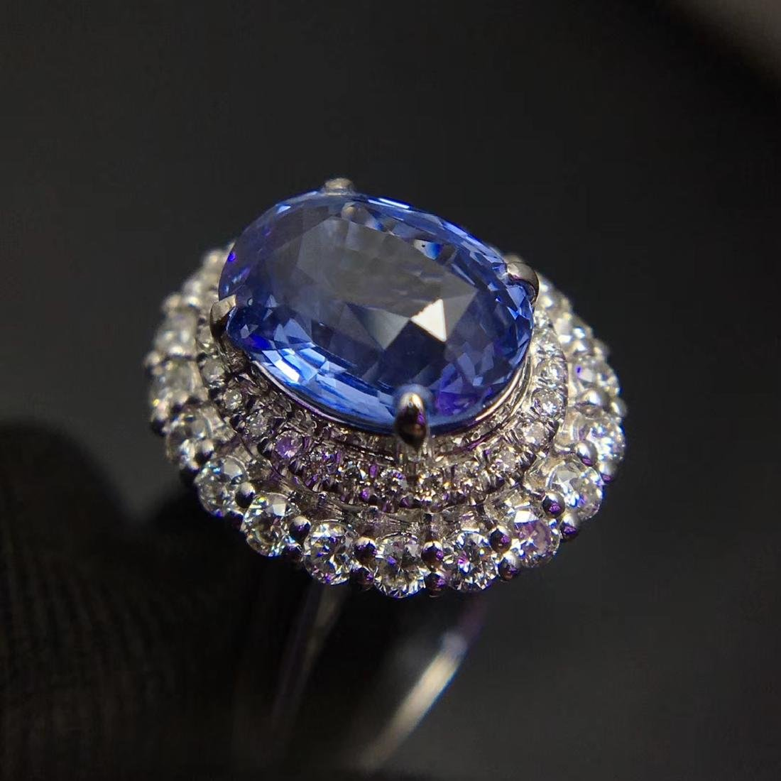 2.59ct Sapphire Ring in 18kt White Gold - 3