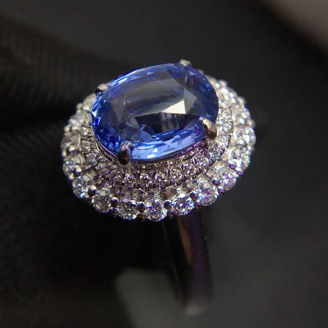 2.59ct Sapphire Ring in 18kt White Gold - 4