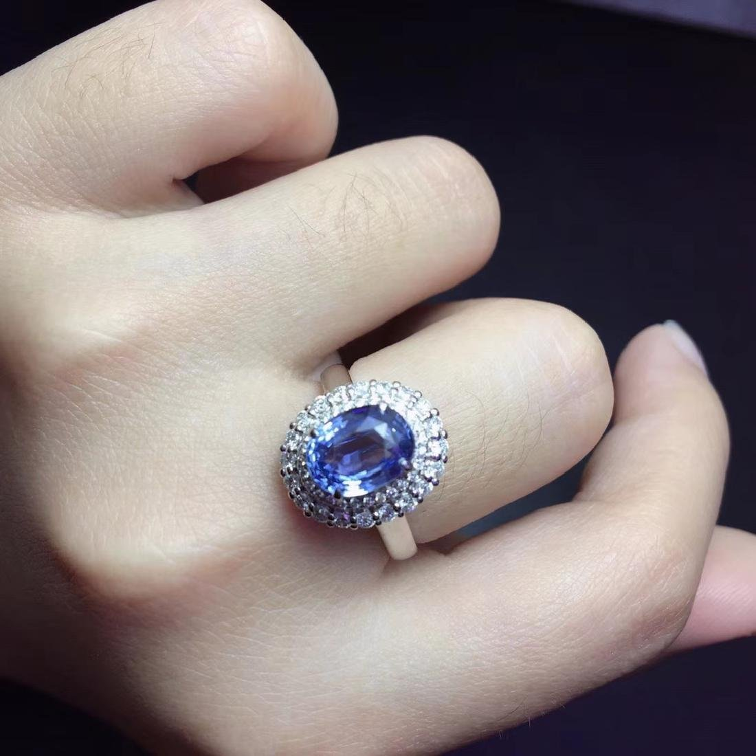 2.59ct Sapphire Ring in 18kt White Gold - 6