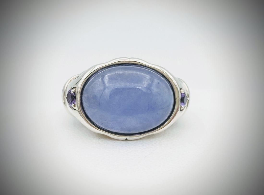 Sterling Silver Elephant Designed Violet Jade, and
