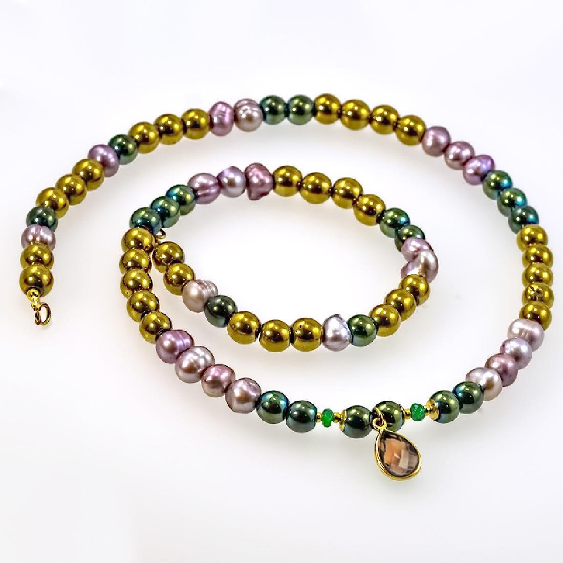 14K Multi-color Necklace with Emerald and Ash Topaz - 2