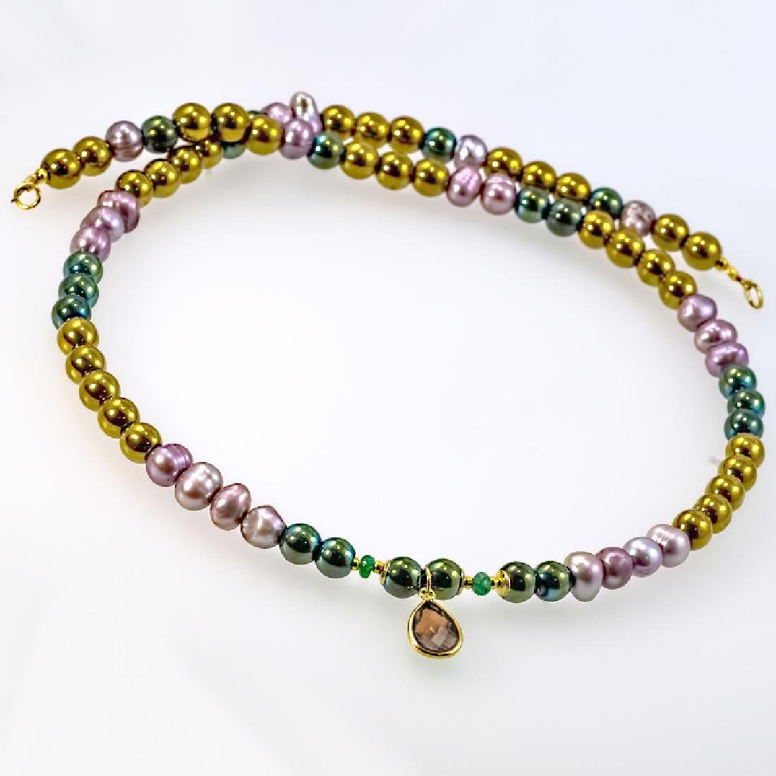 14K Multi-color Necklace with Emerald and Ash Topaz - 3