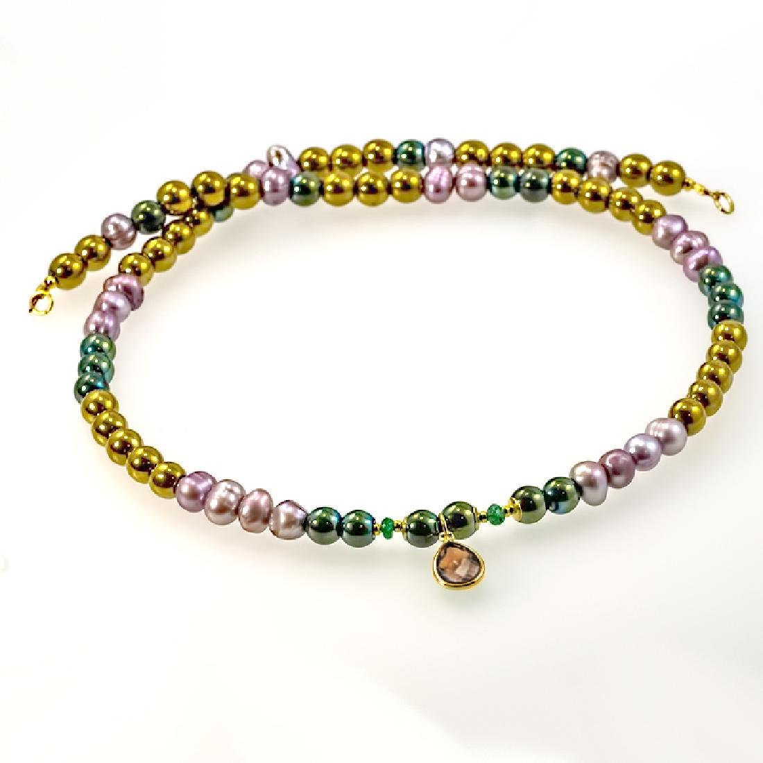 14K Multi-color Necklace with Emerald and Ash Topaz - 4