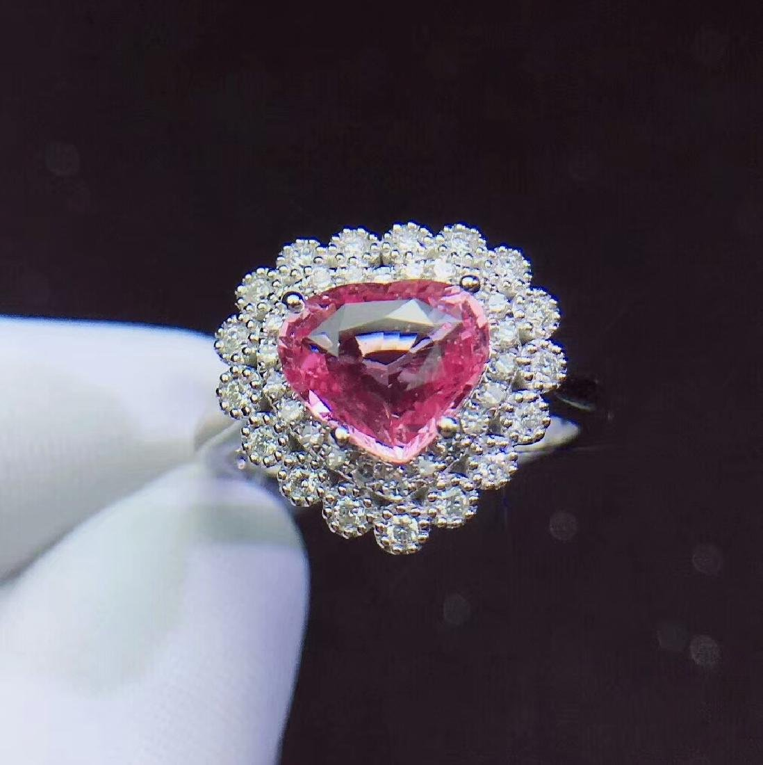 1.72ct Papalaccha Sapphire Ring in 18kt White Gold