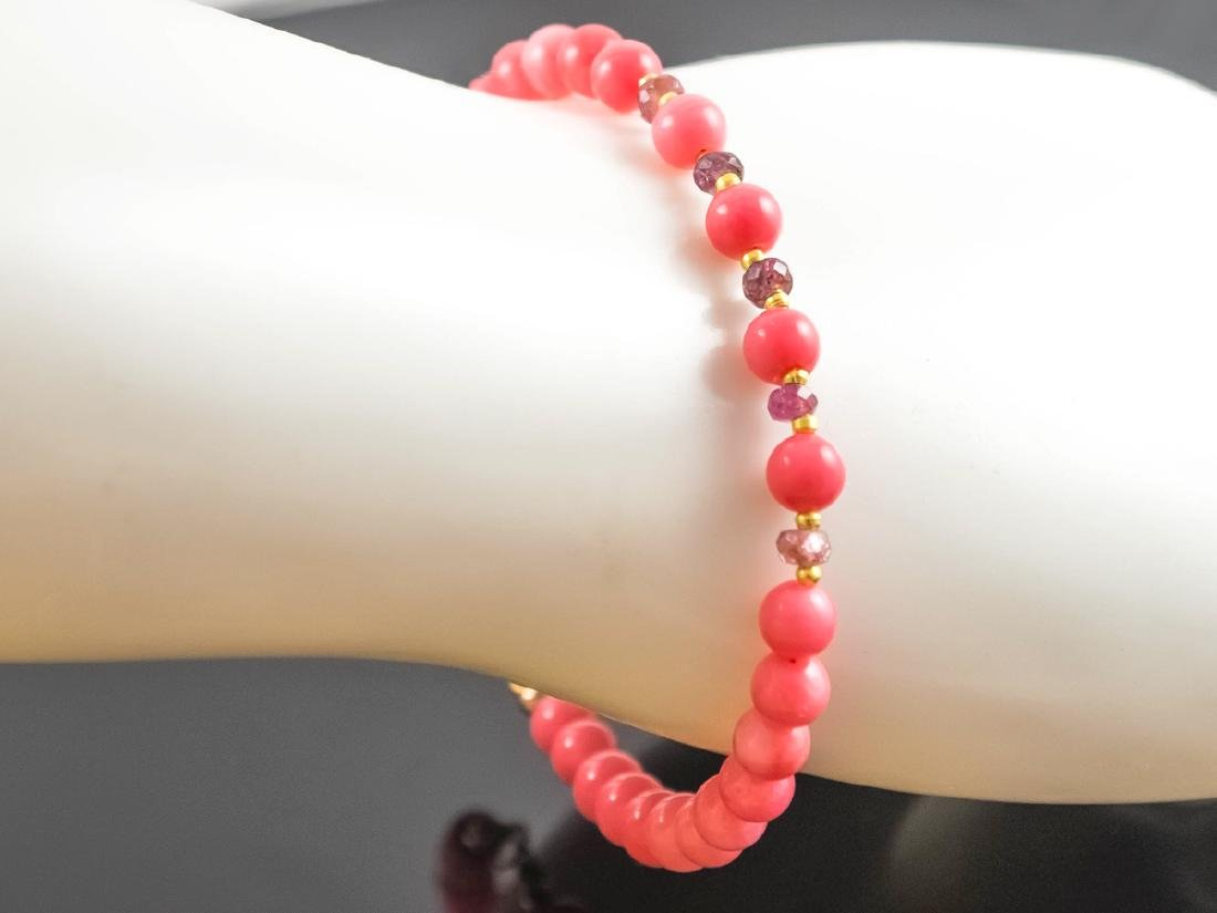 Pink Coral and Sapphires Bracelet