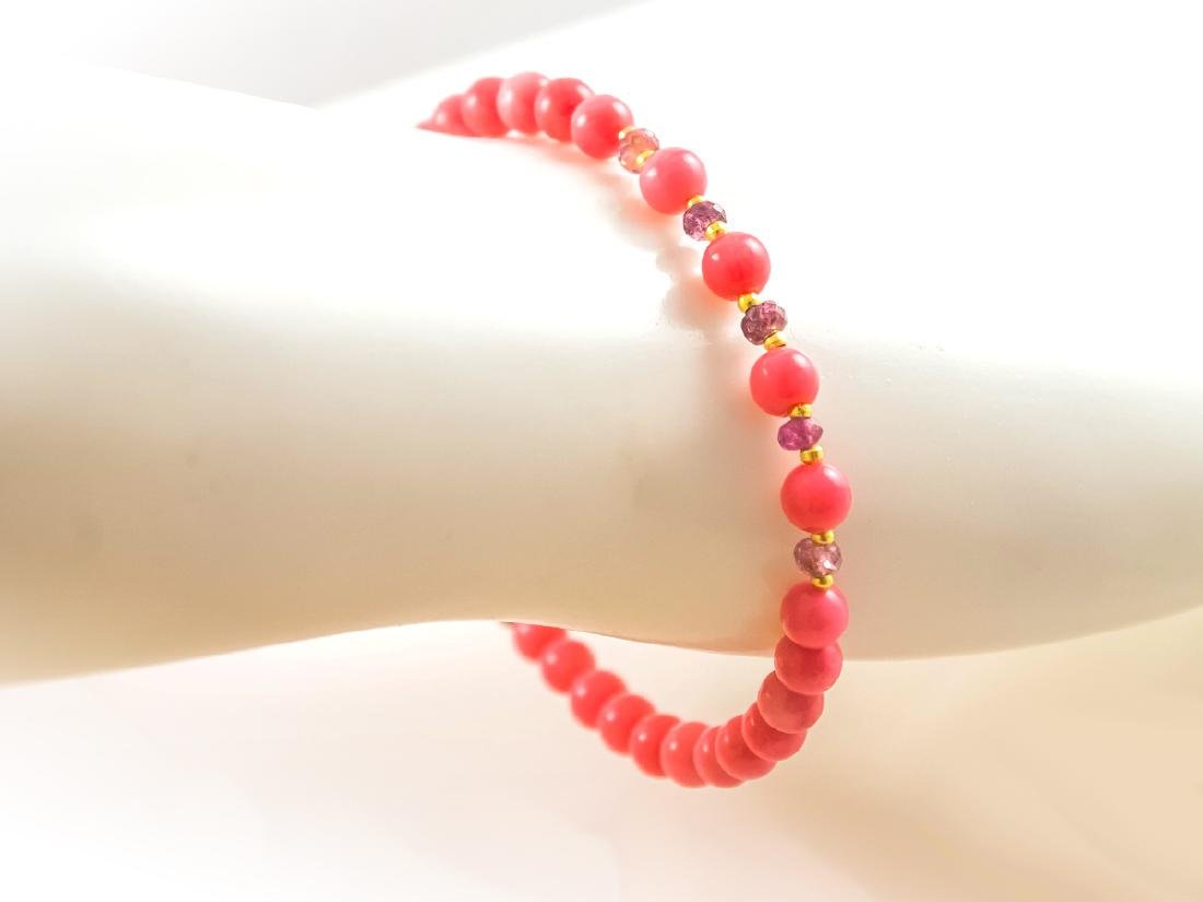 Pink Coral and Sapphires Bracelet - 2